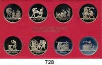 Deutsche Demokratische Republik,K U R S S Ä T Z E  Schadowfries-Satz 1983  Mzz. A.  8 Kupfer-Nickel-Medaillen.  Im Originalrahmen (rot)