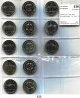 Deutsche Demokratische Republik,  5 Mark 1971 bis 1990.  Brandenburger Tor.  LOT 13 Stück mit 1983 und 1985