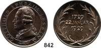 M E D A I L L E N,Personen Lessing, Gotthold Ephraim Bronzemedaille 1929 (F. Hörnlein). Dickabschlag.  Zu seinem 200. Geburtstag.  AFA 224.  36 mm.  29,7 g.