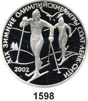 AUSLÄNDISCHE MÜNZEN,Russland Russische Föderation seit 1991 3 Rubel 2002.  Olympische Winterspiele 2002 in Salt Lake City.  Parch. 1097.  Schön 737.  Y. 738.