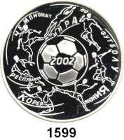 AUSLÄNDISCHE MÜNZEN,Russland Russische Föderation seit 1991 3 Rubel 2002.  XVII. Fußball WM.  Parch. 1099.  Schön 743.  Y. 787.