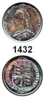 AUSLÄNDISCHE MÜNZEN,Großbritannien Viktoria 1837 - 1901 Sixpence 1887.  Spink 3928.  Kahnt/Schön 125.  KM 759.