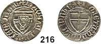 Deutsche Münzen und Medaillen,Deutscher Orden Winrich von Kniprode 1351 - 1382 Schilling o.J.  1,56 g.  Neumann 4.