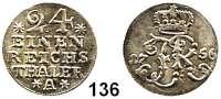 Deutsche Münzen und Medaillen,Preußen, Königreich Friedrich II. der Große 1740 - 1786 1/24 Taler 1756 A, Berlin.  2,30 g.  Kluge 171.4.  v.S. 701.  Olding 137.