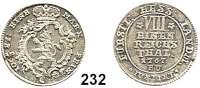 Deutsche Münzen und Medaillen,Hessen - Kassel Friedrich II. 1760 - 1785 1/8 Taler 1767 F. U.  Hoffmeister 2370.  Schütz 1876.  Schön 114.