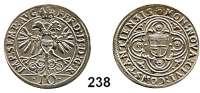 Deutsche Münzen und Medaillen,Konstanz, Stadt Ferdinand II. 1619 - 1637 10 Kreuzer o.J.  4,41 g.  Stadtschild im Vierpaß. / Bekrönter Doppeladler mit Reichsschild.  Nau 156.