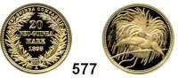 Besetzte Gebiete  -  Kolonien  -  Danzig,Deutsch - Neuguinea  Neuprägung (Punze 2003) des 20 Markstückes von 1895 A.  GOLD  Vgl. Jaeger 709.  20 mm.  3,1 Gramm.
