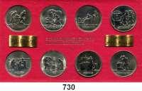 Deutsche Demokratische Republik,K U R S S Ä T Z E  Schadowfries-Satz 1983(Schmieden) und 1984(7)  Mzz. A.  8 Kupfer-Nickel-Medaillen.  Im Originalrahmen (rot)