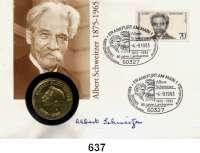 Deutsche Demokratische Republik,  10 Mark 1975.    Schweitzer.  Im Numisbrief (Poststempel : -4.-9.1993).