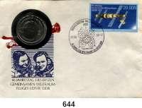 Deutsche Demokratische Republik,  10 Mark 1978.    Weltraumflug.  Im Numisbrief (Poststempel : 26.08.88-12).