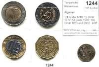 AUSLÄNDISCHE MÜNZEN,Algerien  1/4 Budju 1243; 10 Dinar 1979; 50 Dinar 1996; 100 Dinar 1993 und 2002.  LOT 5 Stück.