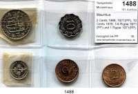 AUSLÄNDISCHE MÜNZEN,Mauritius  2 Cents 1966, 1971(PP); 10 Cents 1978; 1/4 Rupie 1971(PP) und 1 Rupie 1971(PP).  LOT 5 Stück.