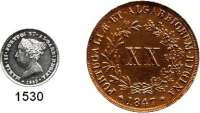 AUSLÄNDISCHE MÜNZEN,Portugal Maria II. 1834 - 1853 20 Reis 1847 und 100 Reis 1853.  Kahnt/Schön 65 und 67.  KM 482 und 488.  LOT 2 Stück.