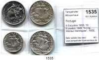 AUSLÄNDISCHE MÜNZEN,Portugal Republik seit 1910 5 Escudos 1933; 10 Escudos 1928