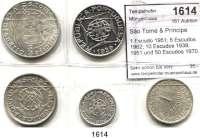 AUSLÄNDISCHE MÜNZEN,São Tomé & Príncipe  1 Escudo 1951; 5 Escudos 1962; 10 Escudos 1939, 1951 und 50 Escudos 1970.  Schön 14, 17, 8, 18, 21.  KM 11, 20, 7, 14, 21.  LOT 5 Stück.