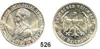 R E I C H S M Ü N Z E N,Weimarer Republik  3 Reichsmark 1927 F.  Tübingen.