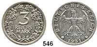 R E I C H S M Ü N Z E N,Weimarer Republik  3 Reichsmark 1931 D.  Kursmünze.