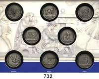 Deutsche Demokratische Republik,K U R S S Ä T Z E  Der Münzfries von Johann Gottfried Schadow 2013/14.   8 patinierte Silbermedaillen (333/1000, Staatliche Münze Berlin).  30 mm.  6,9 g.  Im Folder.