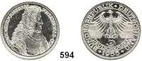 B U N D E S R E P U B L I K,  5 Mark 1955 G      Markgraf von Baden.