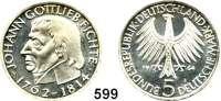 B U N D E S R E P U B L I K,  5 Mark 1964 J      Fichte.