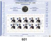 B U N D E S R E P U B L I K,  Numisblatt 1/97 der Deutschen Post AG.  10 Mark 1997 J.    Philipp Melanchthon.