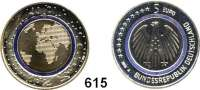B U N D E S R E P U B L I K,E U R O - P R Ä G U N G E N  5 Euro 2016 A, D, F, G, J.  (Bi-Metall mit Polymerring).  Planet Erde. SATZ 5 Stück.