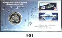 M E D A I L L E N,Luftfahrt - Raumfahrt Raketen / Raumschiffe LOT von 2 Silbermedaillen 1975 (999).  Apollo - Soyuz Test Projekt.  Jeweils im Numisbrief (1x U.S.A. und 1x Sowjetunion). 40 mm.  20 Gramm.