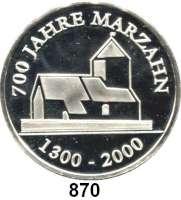 M E D A I L L E N,Städte Berlin Silbermedaille 2000 (1000).  625 Jahre Biesdorf - 700 Jahre Marzahn.  40 mm.  20 g.