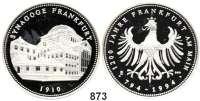 M E D A I L L E N,Städte Frankfurt am Main Silbermedaille 1994.  Westend-Synagoge Frankfurt.  Ansicht der Synagoge. / Frankfurter Adler.  40 mm.  20,1 g.