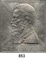 M E D A I L L E N,Personen Röntgen, Wilhelm Conrad (1845-1923) Einseitige Weißmetall Plakette 2001 (Wolfgang Günzel).  Brustbild n. l.  95 x 107 mm.  349 g.