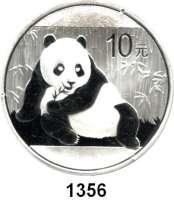 AUSLÄNDISCHE MÜNZEN,China Volksrepublik seit 1949 10 Yuan 2015.  Panda vor Bambus.