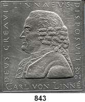 M E D A I L L E N,Personen Linné, Carl von Einseitige Weißmetall Plakette 2002 (Wolfgang Günzel).  Brustbild n. l.  92 x 101 mm.  274 g.