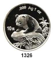 AUSLÄNDISCHE MÜNZEN,China Volksrepublik seit 1949 10 Yuan 1999 (Silberunze).  Breite Jahreszahl ohne Serifen.  Panda auf einem Felsen.  Schön 1175.  KM 1216.   In Kapsel.