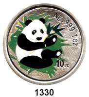 AUSLÄNDISCHE MÜNZEN,China Volksrepublik seit 1949 10 Yuan 2000 (Silberunze, Farbmünze).  Panda mit Bambuszweig.  Schön 1226.  KM 1352.  In Kapsel.