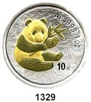 AUSLÄNDISCHE MÜNZEN,China Volksrepublik seit 1949 10 Yuan 2000 (Silberunze, Panda vergoldet).  Panda mit Bambuszweig.  Schön 1226.  KM 1352.  In Kapsel.
