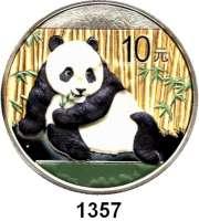 AUSLÄNDISCHE MÜNZEN,China Volksrepublik seit 1949 10 Yuan 2015 (Silberunze, Farbmünze).  Panda vor Bambus.