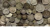 AUSLÄNDISCHE MÜNZEN,L  O  T  S     L  O  T  S     L  O  T  S  LOT von 126 ausländischen Silberkleinmünzen.  Brutto 448 Gramm.
