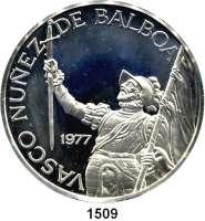 AUSLÄNDISCHE MÜNZEN,Panama  20 Balboa 1977.  Bolivar mit Flagge und Schwert.  Schön 44.  KM 44.  Im Originaletui mit Zertifikat.