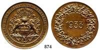 M E D A I L L E N,Städte Hamburg Bronzemedaille 1933.  Staatspreis der Freien und Hansestadt Hamburg.  45 mm.  39,3 g.  Randpunze HM. BRONZE.