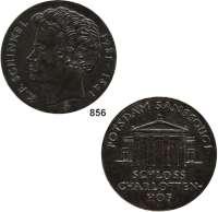 M E D A I L L E N,Personen Schinkel, Karl Friedrich Bronzegußmedaille 1981 (Günzel).  Zum 200. Geburtstag.  Kopf n. l. / Potsdam Sanssouci - Schloß Charlottenhof.  86 mm.  230 g.