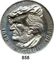 M E D A I L L E N,Personen Wagner, Richard Einseitige Weißmetall Plakette o.J.  Kopf nach links.  96 mm.  167,7 g.