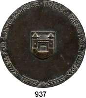M E D A I L L E N,Varia  Einseitige Bronzeplakette o.J.  Für langjährige treue Dienstzeit.  150 mm.  291 g.