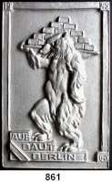M E D A I L L E N,Städte Berlin Einseitige Aluminiumplakette 1945.