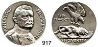 M E D A I L L E N,Weltkrieg  Silbermedaille 1914 (G. Morin).  Feldmarschall von Bülow - St. Quentin.  Brustbild nach rechts./ Adler greift einen anschleichenden Löwen im Sturzflug an.  Rand : Silber 990.  33,8 mm.  18,07 g.  Zetzmann 4023.