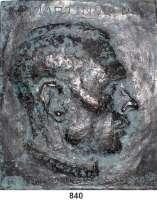 M E D A I L L E N,Personen Hitler, Adolf Einseitige Bronzegußplakette 1945 (H. Füssel 26.?.45).  Kopf nach rechts, darüber