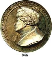 M E D A I L L E N,Personen Mehmed II., der Eroberer 1451 - 1481 Einseitiger Bronzenachguß der Medaille auf seinen Tod 1481.  Brustbild mit Turban nach links.  118 mm.  363 g.