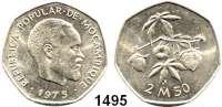 AUSLÄNDISCHE MÜNZEN,Moçambique  2 1/2 Meticas 1975.  Diese Stück gelangten wegen der unterbliebenen Währungsumstellung nicht in den Zahlungsverkehr.  Schön 38.  KM 97.
