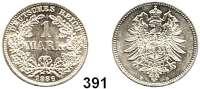 R E I C H S M Ü N Z E N,Kleinmünzen  1 Mark 1886 D.