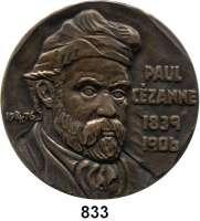 M E D A I L L E N,Personen Cezanne, Paul Bronzegußmedaille 1976 (Kalman Renner).  70. Todestag.  Brb. n. h. r. /  Zwei Harlekine.  100 mm.  332,1 g.