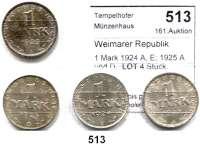 R E I C H S M Ü N Z E N,Weimarer Republik  1 Mark 1924 A, E; 1925 A und D.  LOT 4 Stück.